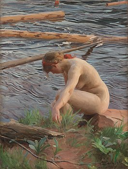 "331. Anders Zorn, ""Timret går"" (Timber)."