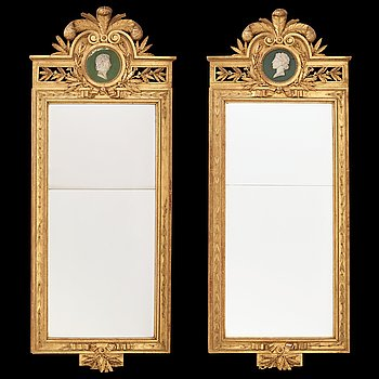 13. A pair of Gustavian 1780's mirrors attributed to  Pehr Ljung (1743-1819).