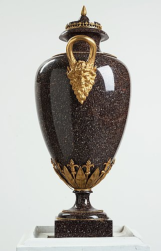 A late gustavian circa 1800 porphyry and ormolu vase by court bronze chaser and gilder f.l. rung (1758-1837) not signed.