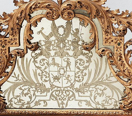 A baroque late 17th century mirror with the arms of count wrede, attributed to burchard precht.