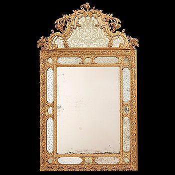 14. A Baroque late 17th century mirror with the arms of Count Wrede, attributed to Burchard Precht.