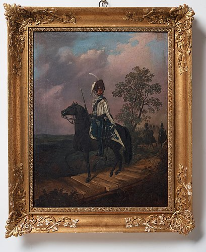 Carl stephan bennet, royal hussar on horse.