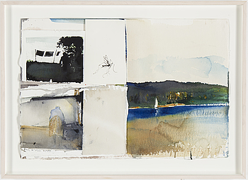 LARS LERIN, LARS LERIN, water color on paper and collage, signed and dated 1999.