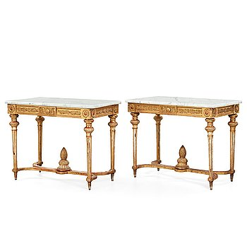 12. A pair of Gustavian late 18th century console tables.
