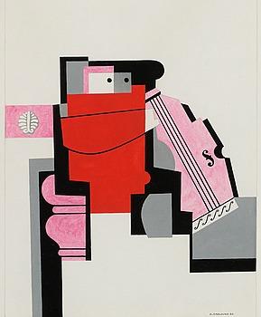 """42. Otto G Carlsund, """"Musicien Rouge, Fet cellist"""" ur  serien """"Triptyque de violoncellistes""""."""