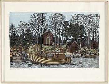SVENOLOV EHRÉN, träsnitt, signerat Svenolov Ehrén, daterat 76 och numrerat 314/360 med blyerts.