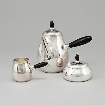 GEORG JENSEN, kaffeservis, 3 delar, sterlingsilver, Köpenhamn, Danmark, 1900-talets mitt.