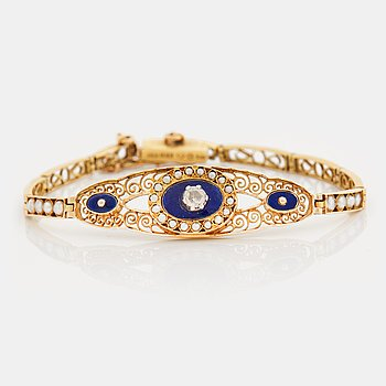 794. A rose cut diamond, natural pearl and blue enamel bracelet.