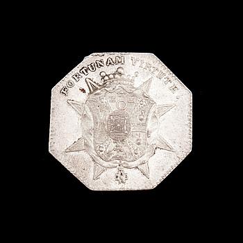 SPELPENNING, silver, Sprengtporten, 1700-tal. Vikt ca 10 gram.