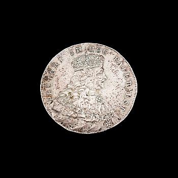 KASTMYNT, silver, Adolf Fredriks kröning, 1751. Vikt ca 11 gram.