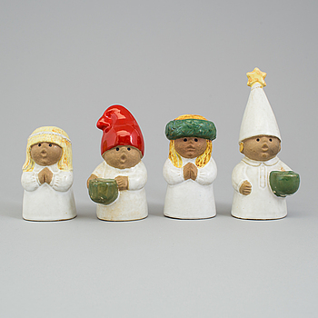 LISA LARSON, figuriner, 4 st, stengods, Gustavsberg.
