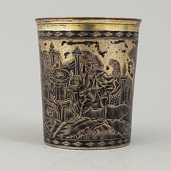 A niello silver cup by Nikolay Dubrovin, Moscow, 1828.