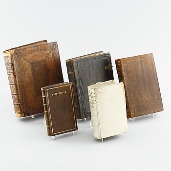 BÖCKER, 5 st, 1600- samt 1700-tal.