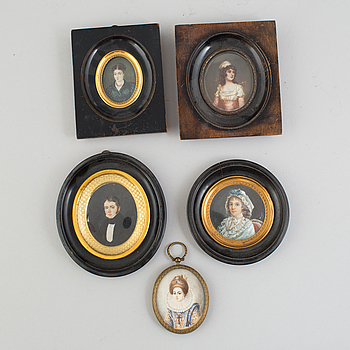 MINIATYRPORTRÄTT, 5 st, gouache på ben, 1800-1900-tal.