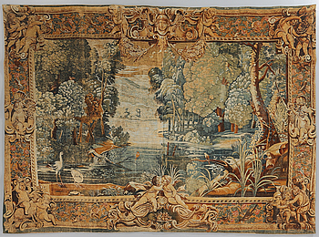TAPESTRY, Verdure Au lac, linen. France/Belgium. Early 1900`s. Circa 286 x 208 cm.