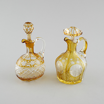 Two glass decanters, around turn of the century 1900.