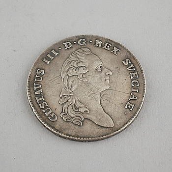 MYNT, silver,1 riksdaler, Gustav III, 1782.