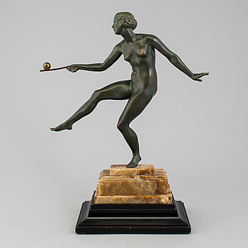 ART DÉCO, skulptur, grönpatinerad brons, okänd konstnär, 1920/30-tal.