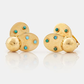 909. A pair of 1950/60's earrings in the shape of ladybirds set with cabochon cut turquoises, by Boucheron.