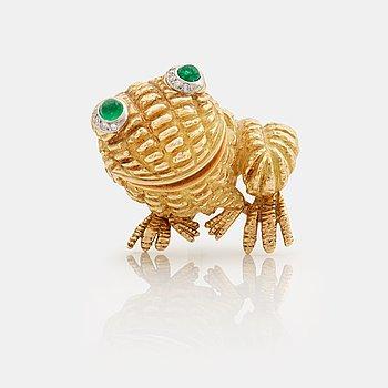 910. A cabochon cut emerald and single cut diamond 1950/60's brooch.