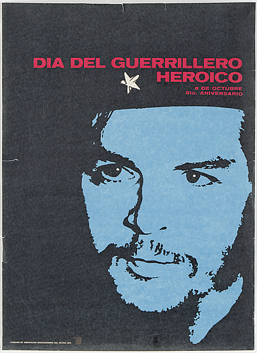 "Politisk affisch, ""dia del guerrillero heroico"", utgiven av departamento de orientation revolucionaria del cc-pcc-1972."
