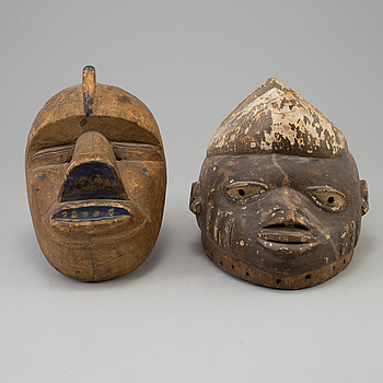 Two 20th century african wooden masks.