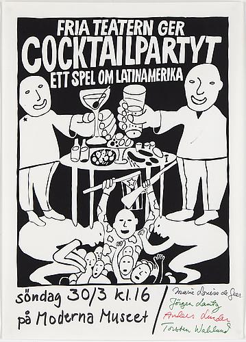 "Carl johan de geer, ""cocktailpartyt"", 1969, screen print"