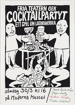 "CARL JOHAN DE GEER, ""Cocktailpartyt"", 1969, screen print."