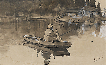 CARL LARSSON, water color and ink, signed.