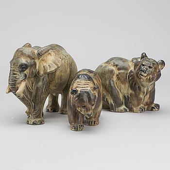 ARNE INGDAM, figuriner 3 st signerade glaserat stengods.