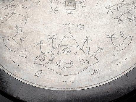 Nils fougstedt, a nils fougstedt engraved pewter top table, svenskt tenn, stockholm 1926.