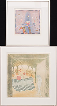HELMTRUD NYSTRÖM, litograph in colour 1 pcs and etching 1 pcs, signed.