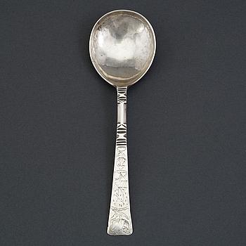 Oluf Jörgensen, sked, silver, (verksam i Bergen 1650-1700).