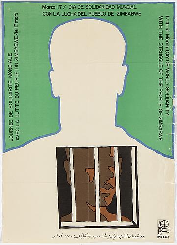 "AlfrÉdo rostgaard, ""day of world solidarity – zimbabwe"", offsetprint, ospaaal poster, nr: af 149"