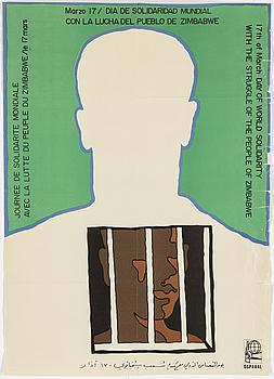 "ALFRÉDO ROSTGAARD, ""Day of world solidarity – Zimbabwe"", offsetprint, OSPAAAL-poster, nr: AF 149."