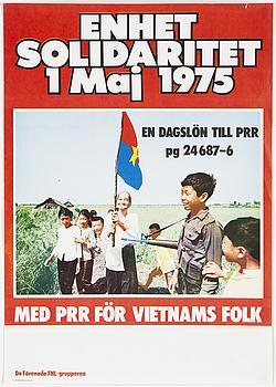 """FNL-AFFISCH, """"En dagslön till PRR 1 maj"""", offsettryck, Thomas Svenson, Tryckeri & Förlag AB Solidaritet, Sthlm, 1975."""