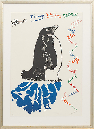 Carl fredrik reuterswärd, litograph in colour, signed and numbered 13/200,
