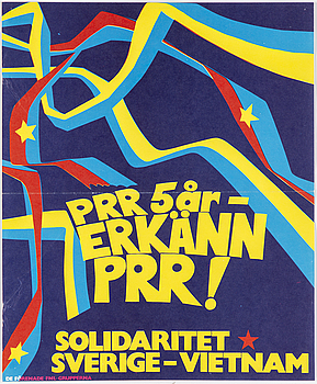 """Political poster, """"PRR 5 år"""", offset print, 1974."""