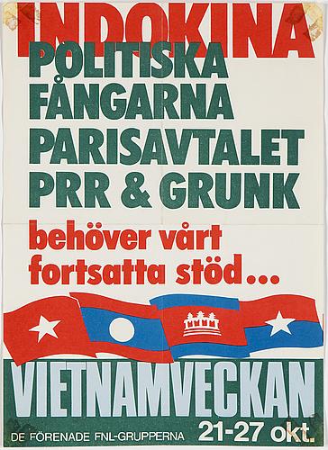 "Political poster, ""indokina, politiska fångarna…"", offsetprint, 1973."