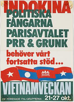"""POLITISK AFFISCH, """"Indokina, politiska fångarna…"""", offsettryck, 1973."""