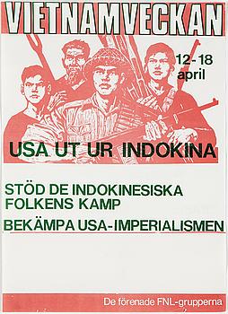 "POLITICAL POSTER, ""Vietnamveckan 12-18 april"", offsetprint, 1971."