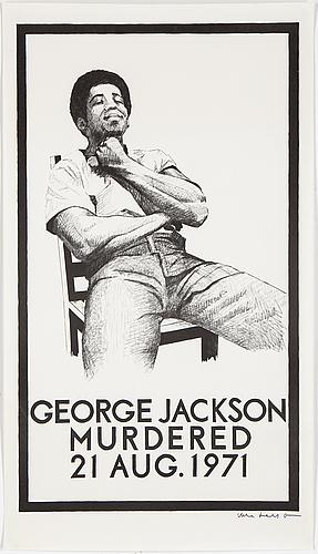 "Political poster, ""geroge jackson murdered"", offsetprint, 1971."