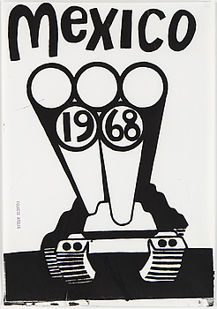 "FOLKETS ATELJÈ, ""Mexico 1968"", screentryck, stämpelsignerad."