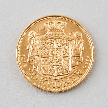 GULDMYNT, 20 kr, Christian X, Danmark, 1916, vikt 8 gram.