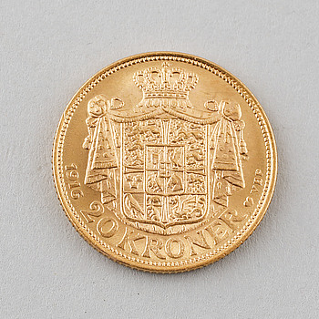 GULDMYNT, 20 kroner, Christian X, Danmark, 1916. Vikt 8 gram.