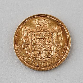 GULDMYNT, 20 kr, Fredrik VIII, Danmark, 1911, vikt 8 gram.