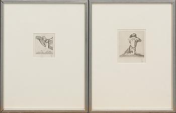 GERHARD HENNING, etsningar 2 st, monogramsignerade,