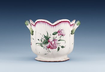 1213. A French 18th Century faience wine cooler, Sceaux or Nideriller.