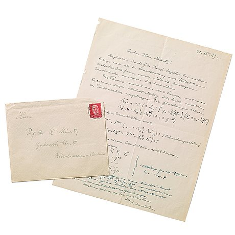 "Albert einstein, autograph letter with mathematical equations, signed ""a. einstein"" and dated 20.xi.29. with envelope."