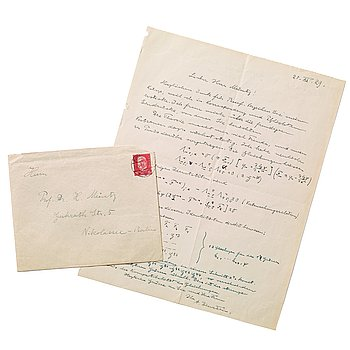 "236. ALBERT EINSTEIN, Autograph letter with mathematical equations, signed ""A. Einstein"" and dated 20.XI.29. with envelope."